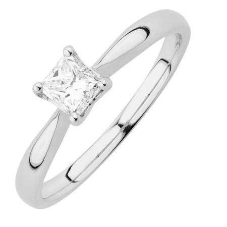 Evermore Colourless Solitaire Engagement Ring with a 0.45 Carat Diamond in 14ct White Gold