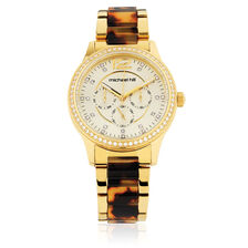 Ladies Watch with Cubic Zirconia in Gold Tone Stainless Steel & Tortoise Shell