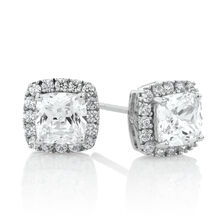 Square Stud Earrings with Cubic Zirconia in Sterling Silver