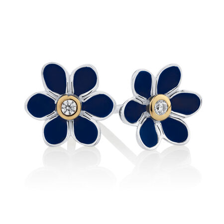 Daisy Stud Earrings with Blue Enamel in Sterling Silver & 10ct Yellow Gold