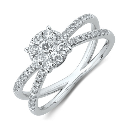 Evermore Engagement Ring with 0.58 Carat TW of Diamonds in 10ct White Gold