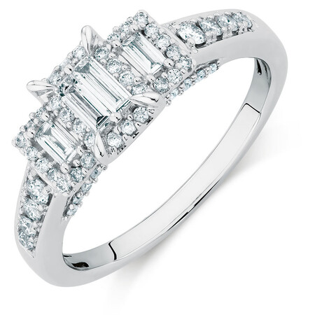 Engagement Ring with a 1/2 Carat TW of Diamonds in 10ct White Gold