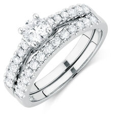 Bridal Set with 0.96 Carat TW of Diamonds in 14ct White Gold