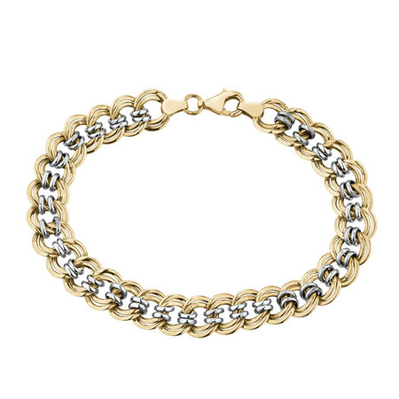 Hollow Roller Bracelet in 10ct Yellow & White Gold