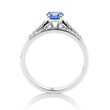 Evermore Bridal Set with Tanzanite & 0.20 Carat TW of Diamonds in 10ct White Gold