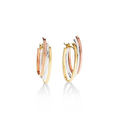 Oval Hoop Earrings in 10ct Yellow, White & Rose Gold