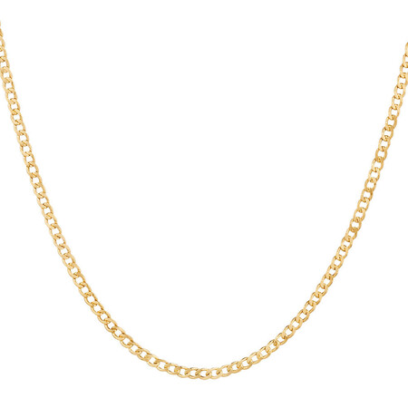 """45cm (18"""") Hollow Curb Chain in 10ct Yellow Gold"""