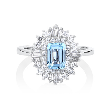 Aquamarine Ring with 0.75 Carat of Diamonds in 10ct White Gold