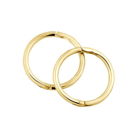 8mm Plain Sleeper Earrings in 10ct Yellow Gold