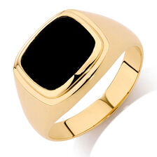 Men's Ring with Black Onyx in 10ct Yellow Gold