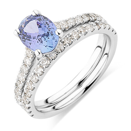 Bridal Set with 0.69 Carat TW of Diamonds & Tanzanite in 14ct White Gold