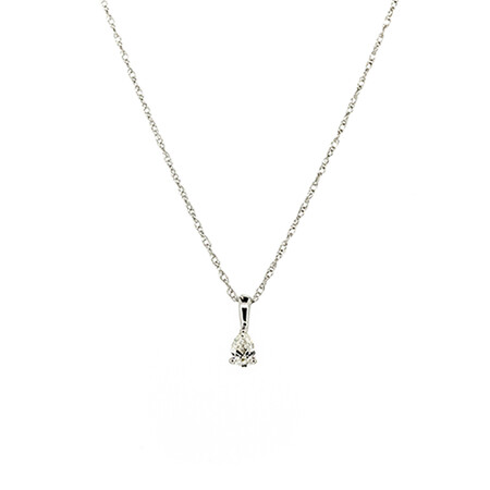 Pear Pendant with Diamonds in 10ct White Gold with Chain