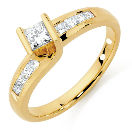 Engagement Ring with 1/2 Carat TW of Diamonds in 14ct Yellow Gold