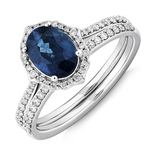 Sapphire & 0.30 Carat TW of Diamonds Bridal Set in 14ct White Gold