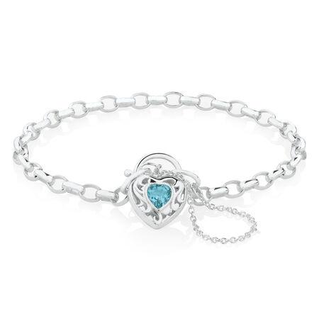"""19cm (7.5"""") Heart Bracelet with Blue Topaz in Sterling Silver"""