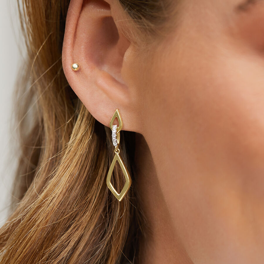 Drop Earrings in 0.10 Carat TW of Diamonds in 10ct Yellow Gold