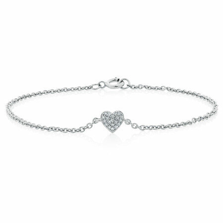 Heart Pave Bracelet with Diamonds in Sterling Silver