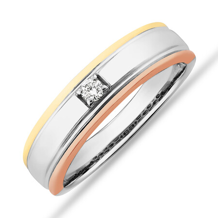 Tritone Duo Ring with Diamonds in 10ct White, Yellow & Rose Gold