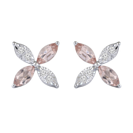 Flower Earrings with Diamond & Natural Morganite in 10ct White Gold