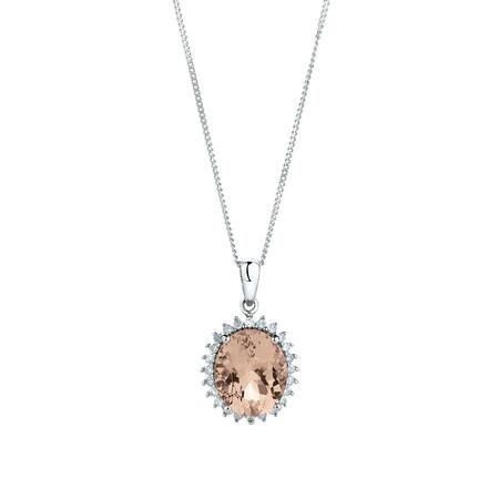 Pendant with Morganite & 0.19 Carat TW of Diamonds in 10ct White Gold