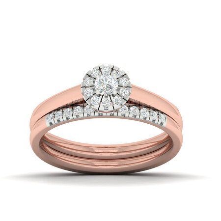Bridal Set with 0.40 Carat TW of Diamonds in 10ct White & Rose Gold