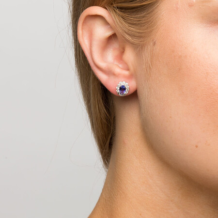 Stud Earrings with Tanzanite & 1/2 Carat TW of Diamonds in 10ct White Gold