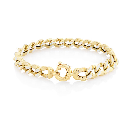 Curb Bolt Ring Bracelet in 14ct Yellow & White Gold