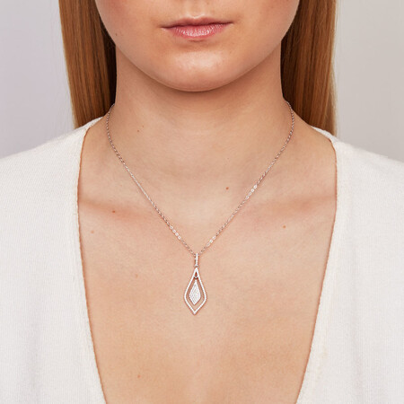 Teardrop Pendant with Cubic Zirconia in Sterling Silver