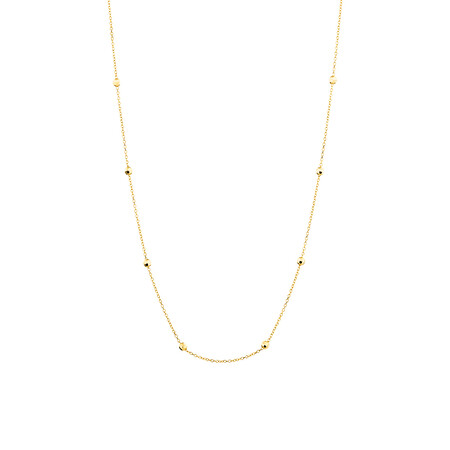 """45cm (18"""") (Adjustable Bead Necklace in 10ct Yellow Gold"""