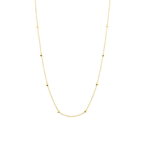 "45cm (18"") (Adjustable Bead Necklace in 10ct Yellow Gold"