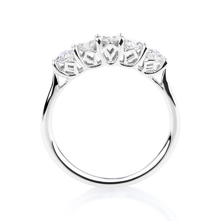 Southern Star 5 Stone Engagement Ring with 0.75 Carat TW of Diamonds in 14ct White Gold