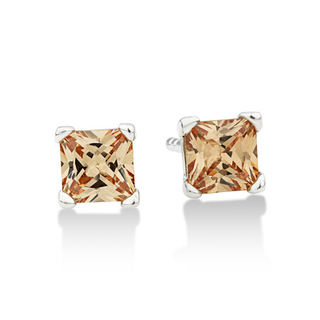Square Stud Earrings with Morganite Cubic Zirconia in Sterling Silver