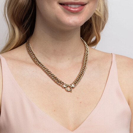 """45cm (18"""") Hollow Double Curb Chain in 10ct Yellow Gold"""
