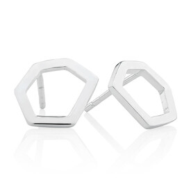 Hexagonal Stud Earrings in Sterling Silver