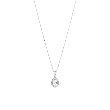 Halo Pendant with Created White Sapphire & Diamonds in Sterling Silver