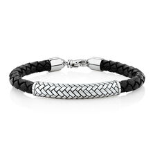 Men's Patterned Bracelet In Black Leather & Sterling Silver