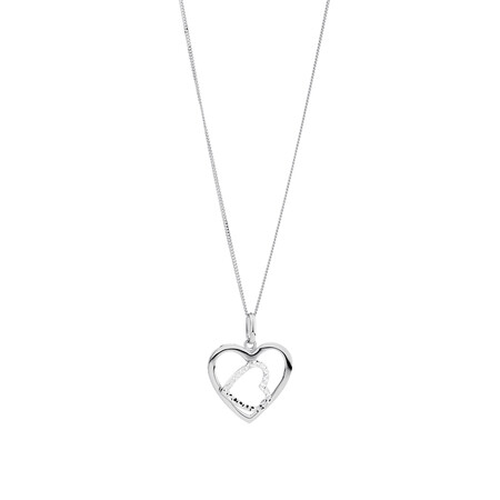 Heart Pendant in 10ct White Gold