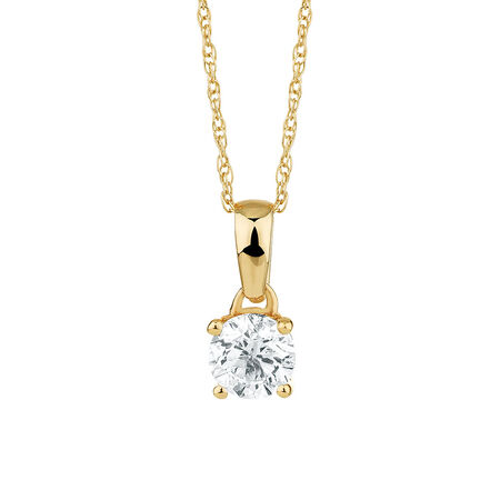 Solitaire Pendant with a 1/2 Carat Diamond in 18ct Yellow Gold