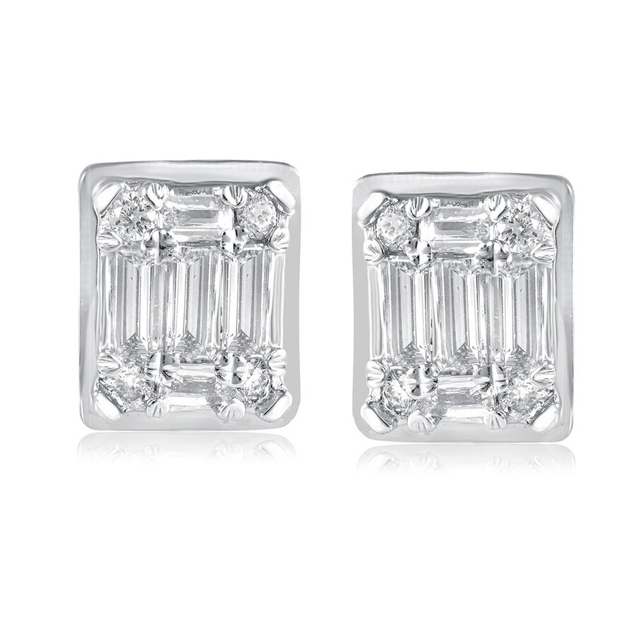 Rectangle Stud Earrings with 0.20 Carat TW of Diamonds in 10ct White Gold