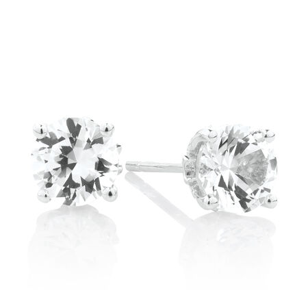 Stud Earrings with Created White Sapphire with Sterling Silver