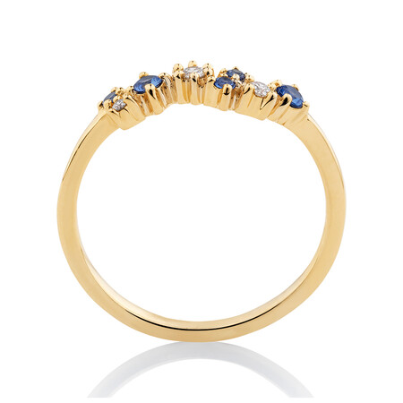 Ring with Diamonds & Created Blue Sapphire in 10ct Yellow Gold