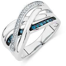Ring with 0.20 Carat TW of White &  Enhanced Blue Diamonds in Sterling Silver
