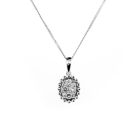 Oval Cluster Pendant with Chain with 0.20 Carat TW of Diamonds in 10ct White Gold
