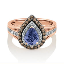 Ring with 0.50 Carat TW of White & Brown Diamonds & Tanzanite in 14ct Rose Gold