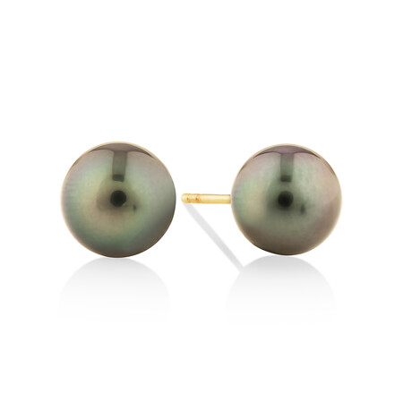 9mm Cultured Tahitian Pearl Stud Earrings In 10ct Yellow Gold
