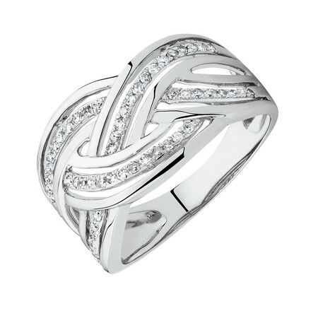 Twist Ring with 1/4 Carat TW of Diamonds in Sterling Silver