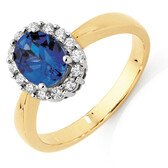 Ring with Created Sapphire & 1/4 Carat TW of Diamonds in 10ct Yellow & White Gold