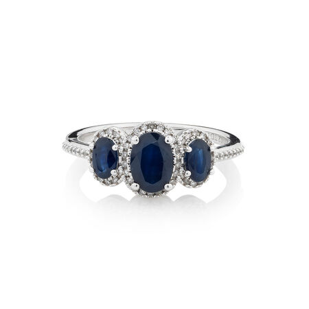Online Exclusive - Ring with 0.12 Carat TW of Diamonds & Sapphire in 10ct White Gold