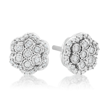 Cluster Flower Studs With 0.15 Carat TW Of Diamonds In Sterling Silver