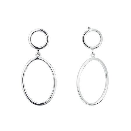 Oval Drop Earrings in Sterling Silver